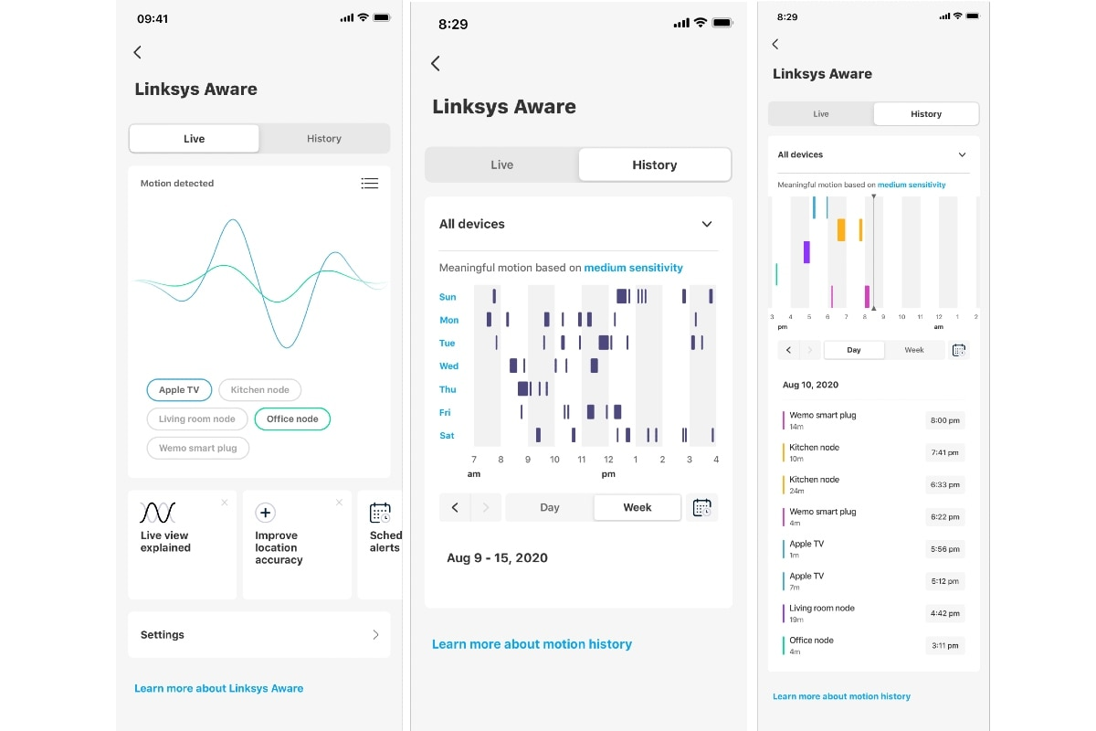 Screenshots of the linksys-enabled Linksys Aware Linksys app