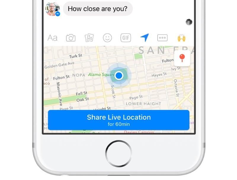 Facebook Messenger Gets Live Location-Sharing