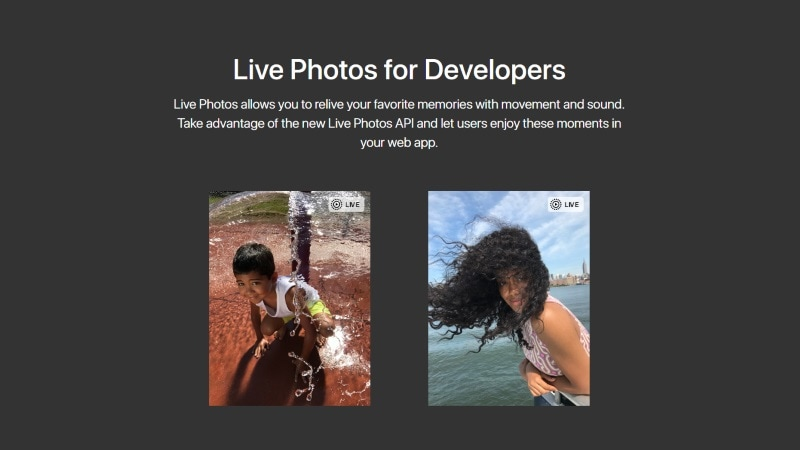 Web developers can now add Apple's Live Photos to their websites
