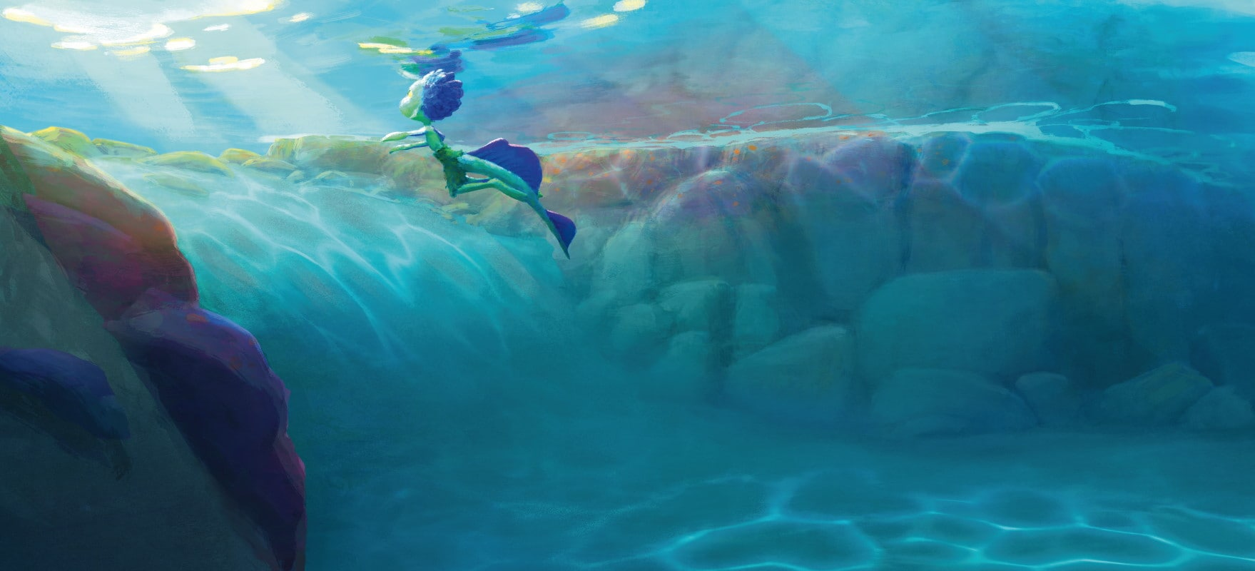 luca underwater light luca pixar movie