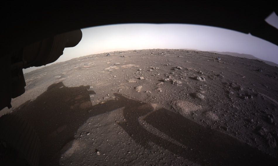 Mars Rover Perseverance Beams Back Selfie from Moment Before Landing