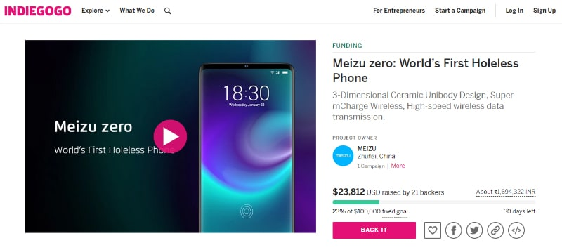 Meizu Zero With No Physical Buttons Listed on Crowdfunding Site Indiegogo