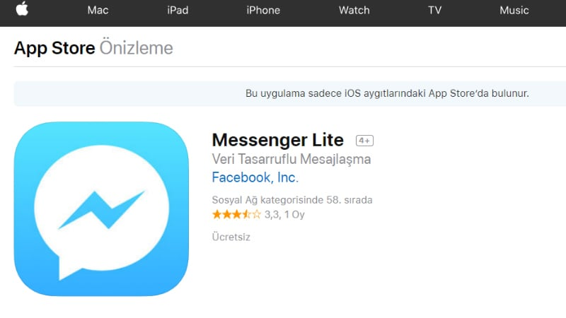 Facebook Messenger Lite Launched for iOS, Available Only in Turkey