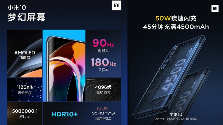 Xiaomi Mi 10 to Pack 90Hz AMOLED Display, 4,500mAh Battery With 50W Flash Charge Support