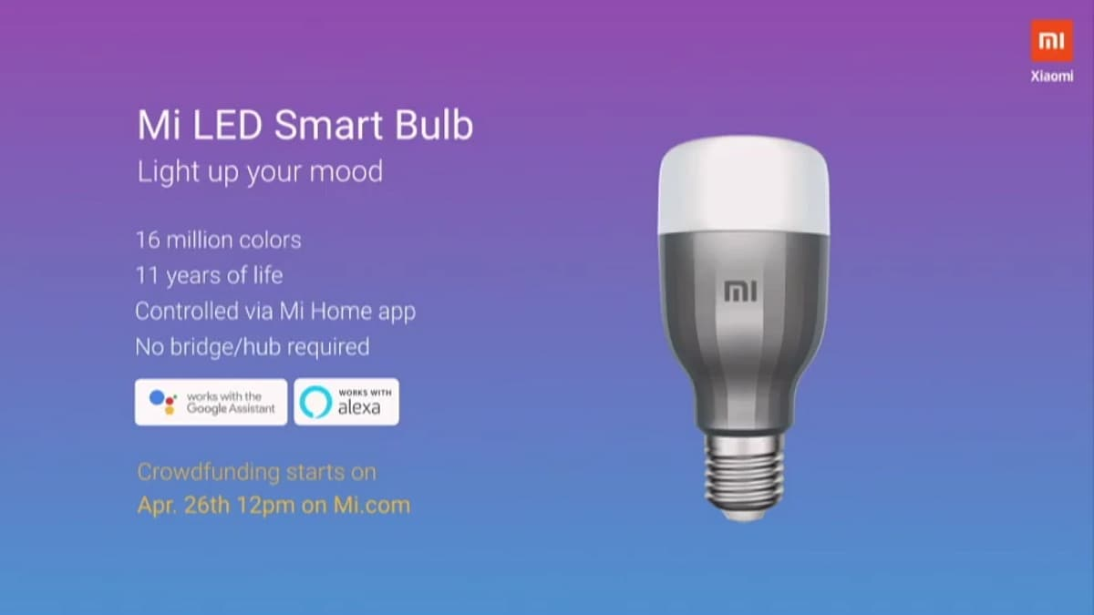 Mi LED Smart Bulb Launched in India, Will Go Up for Crowdfunding on Friday