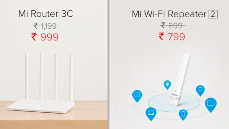 Xiaomi Mi Router 3C, Mi Wi-Fi Repeater 2 Price Cut in India