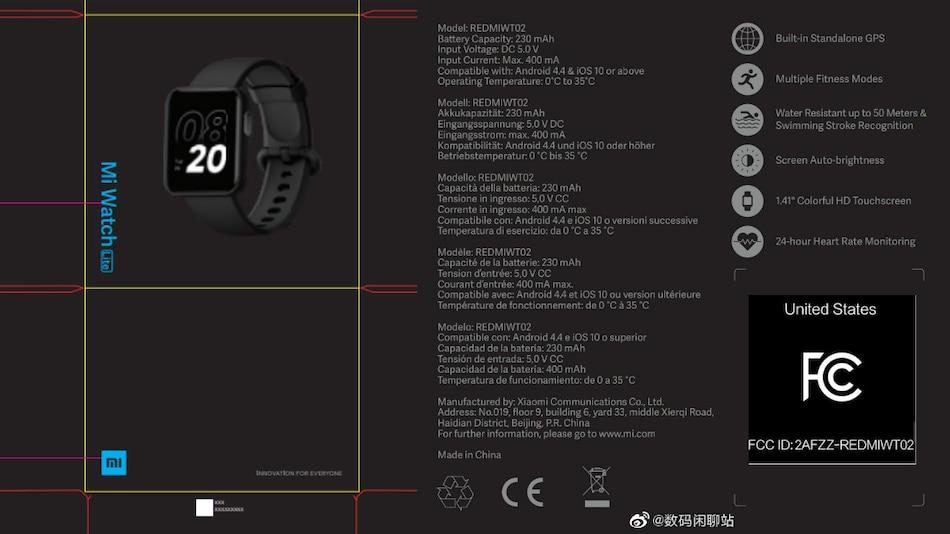 Xiaomi Mi Watch Lite US FCC Listing Reveals Square Design, Key Specifications