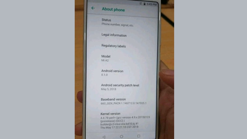 Xiaomi Mi A2 Live Image Leak Tips Snapdragon 660 SoC, Android 8 1