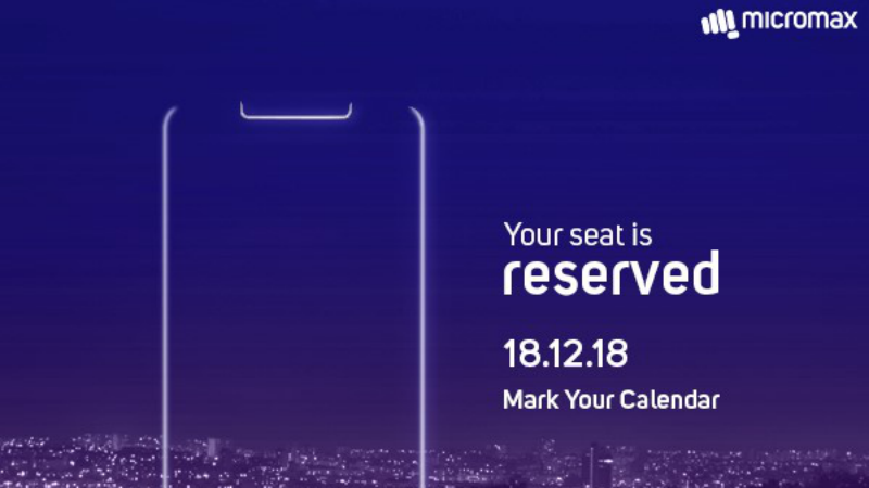 Micromax Will Launch the First Display Notch Smartphone in Its Lineup on December 18