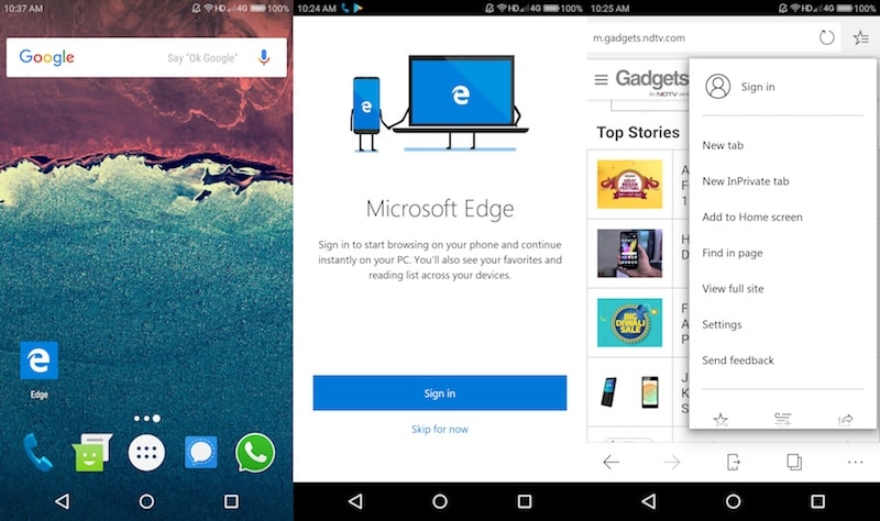 Microsoft Edge Now Available in Preview on Android Devices from the Google Play Store