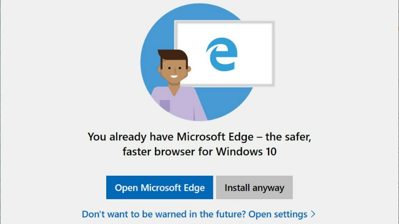 Microsoft Tests Warning Windows 10 Users About Installing Google