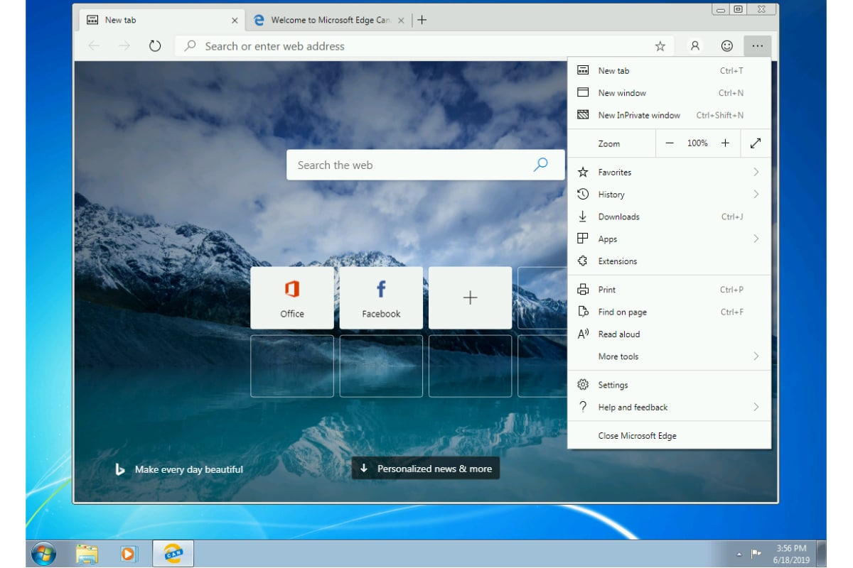 Microsoft Edge Based on Chromium Reaches Windows 7, Windows 8 Through Canary Channel