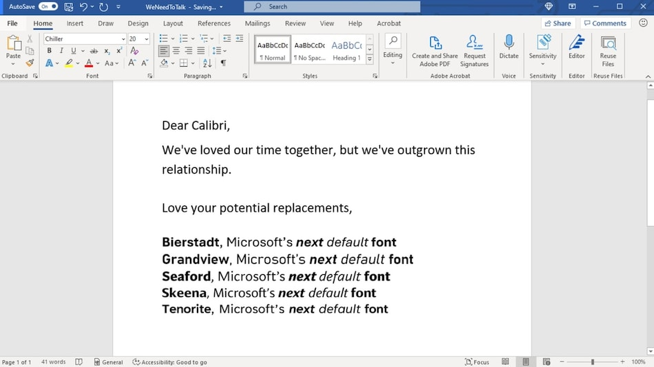 Microsoft Office Is Planning to Replace Calibri as Its Default Font Soon, Introduces 5 New Font Families