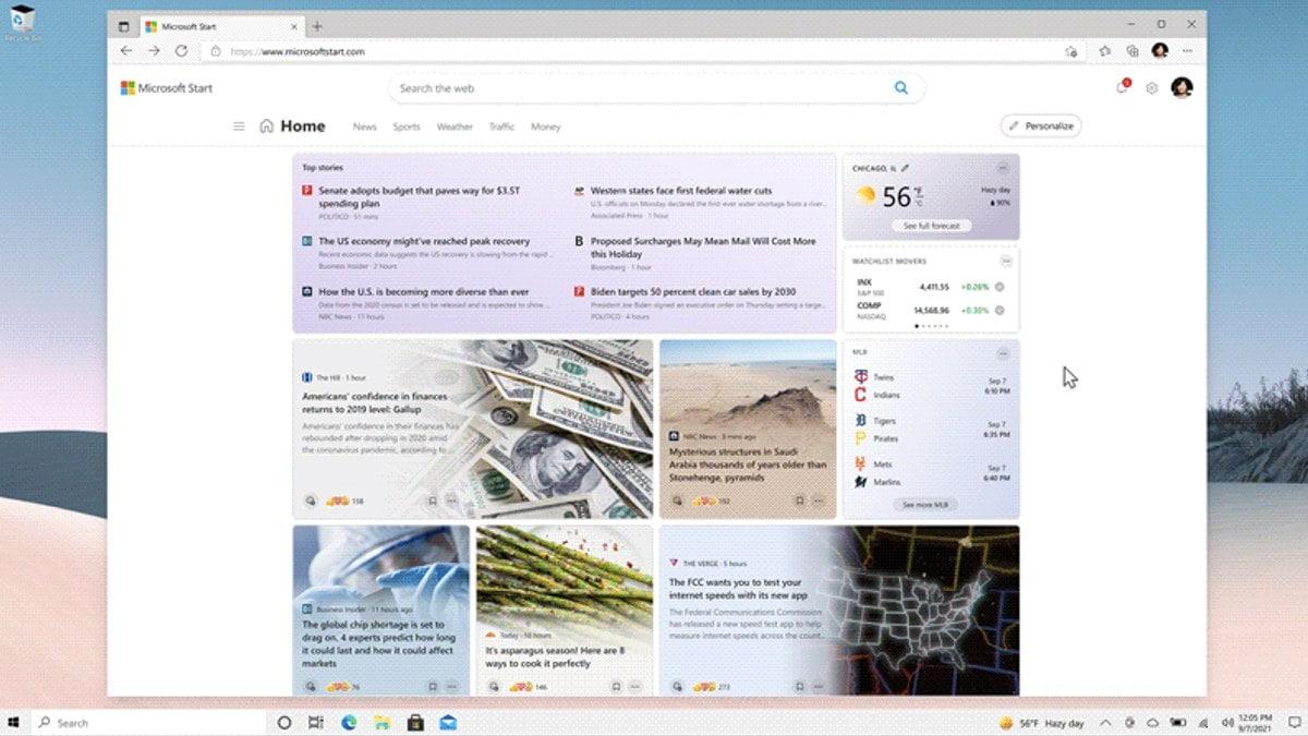 imagem da tela inicial da microsoft start Microsoft Start