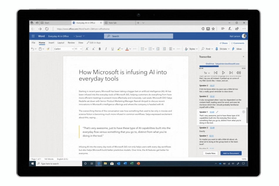 Microsoft Word on the Web Gets a Voice to Text Transcribe Feature to Counter Google Docs, Otter.ai