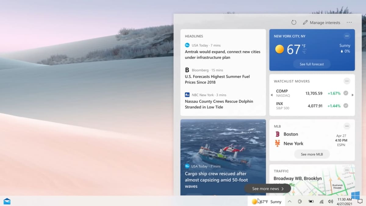 Microsoft Windows 10 Taskbar Gets New Widget With News, Weather Updates