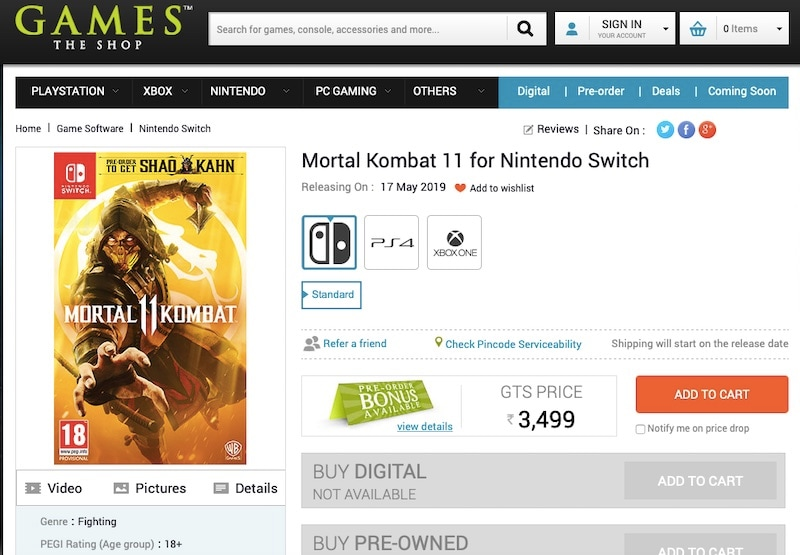 Mortal Kombat 11 Nintendo Switch Release Date for India