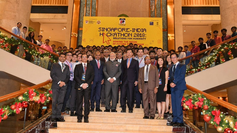 PM Modi Gives Awards to Winning Teams of First India-Singapore Hackathon