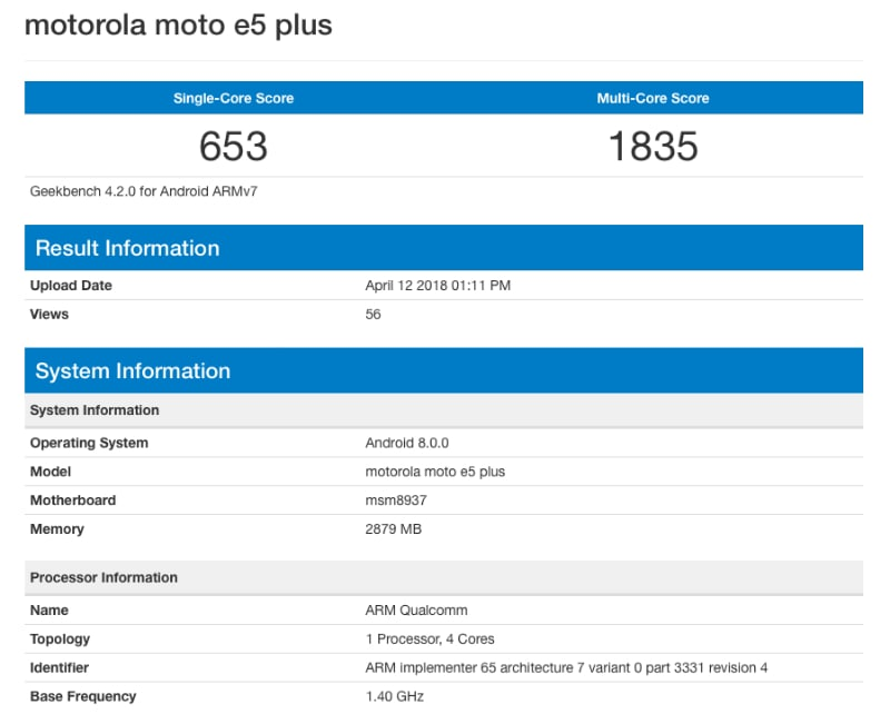 moto e5 plus geekbench inline Moto E5 Plus Geekbench