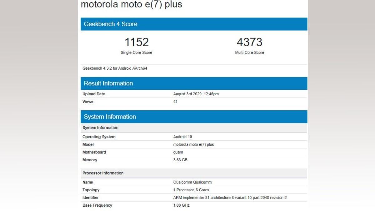 moto e7 plus geekbench score Moto E7 Geekbench Listing