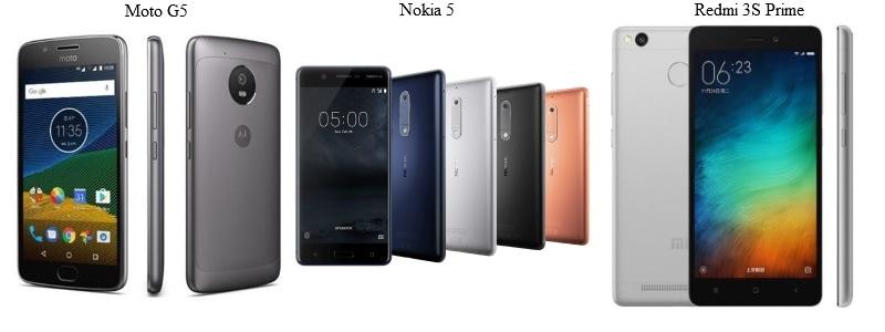 Moto G5 vs Nokia 5 vs Redmi 3S Prime