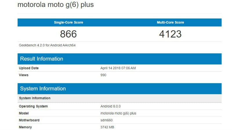 moto g6 plus geekbench Moto G6 Plus