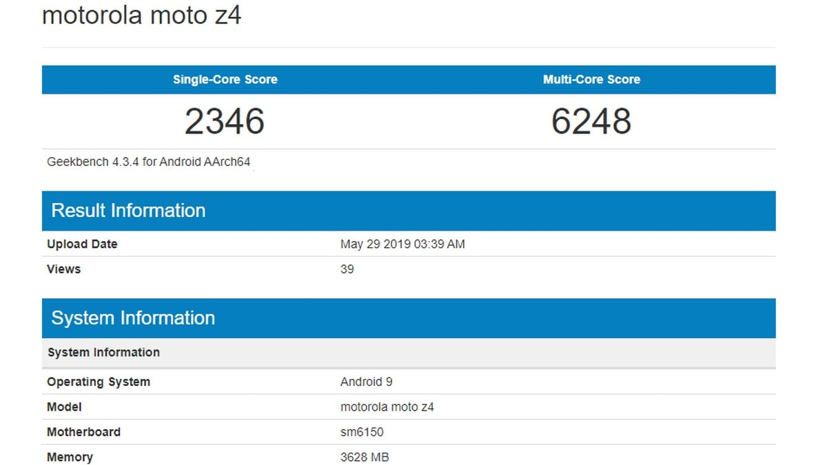 Moto Z4 Spotted on Geekbench With Snapdragon 675 SoC, 4GB of RAM After Being Listed for Sale on Amazon