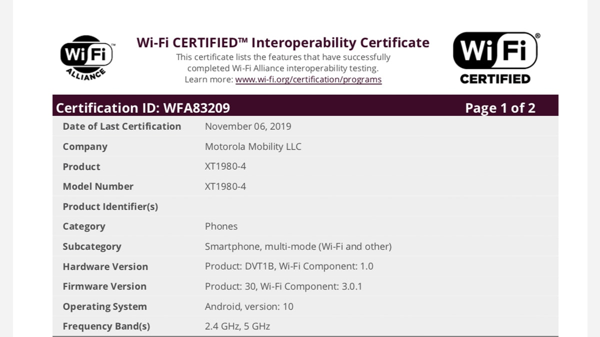 motorola motoz4 wifialliance Moto Z4 Android 10 WiFi Alliance