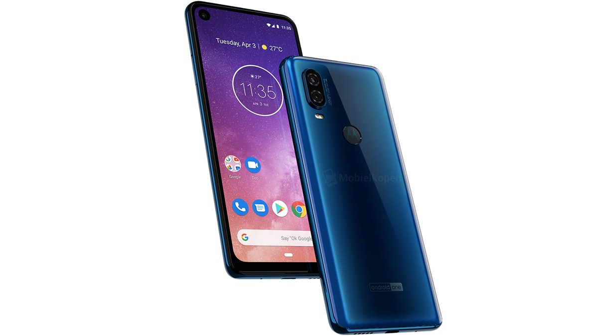 Motorola One Vision set in blue and brown color options surface