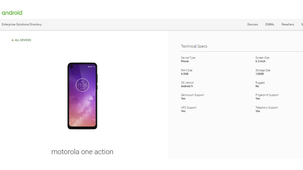 Motorola One Action Spotted on Android Enterprise Directory Ahead of Launch, Specifications Confirmed