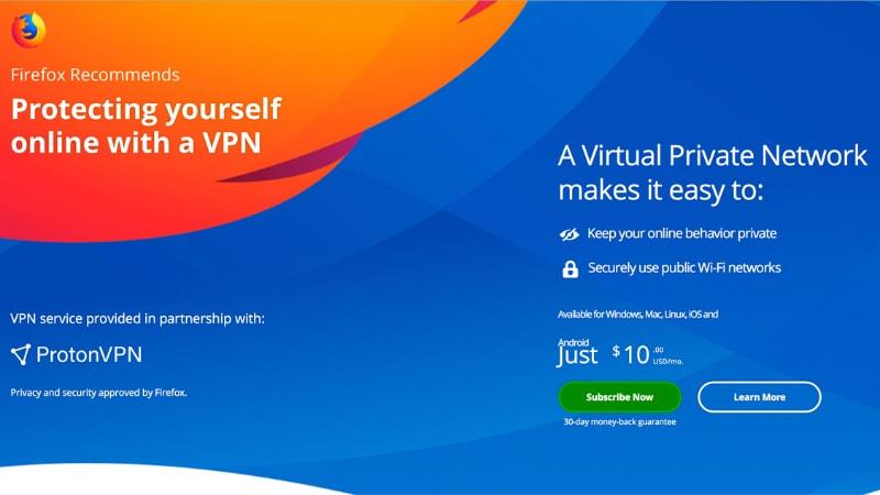 Mozilla Firefox to Start Selling ProtonVPN Subscriptions