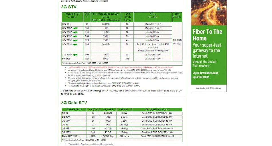 MTNL Launches New Rs. 399 Prepaid Plan, Reintroduces Rs. 1,298 and Rs. 1,499 Packs for Limited Period