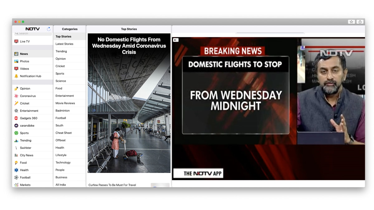 NDTV App Now Available for Mac Users—First News App From India