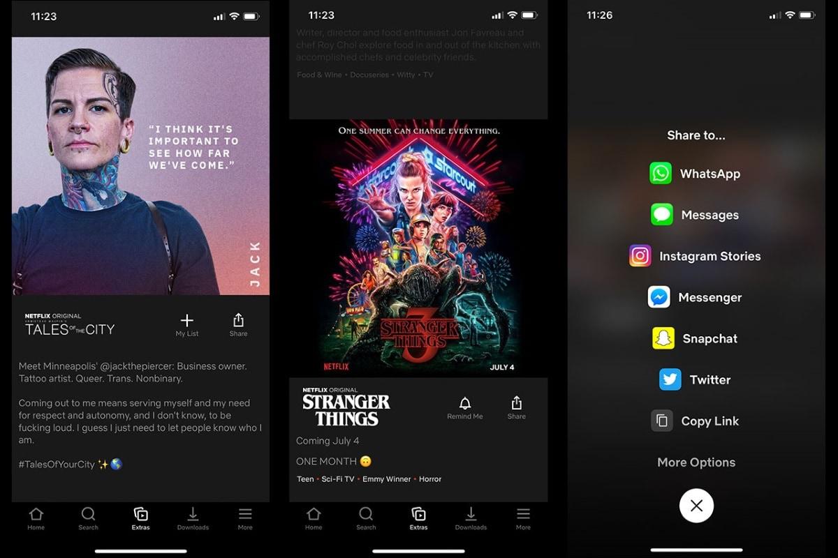 netflix extras Netflix Extras tab mobile app