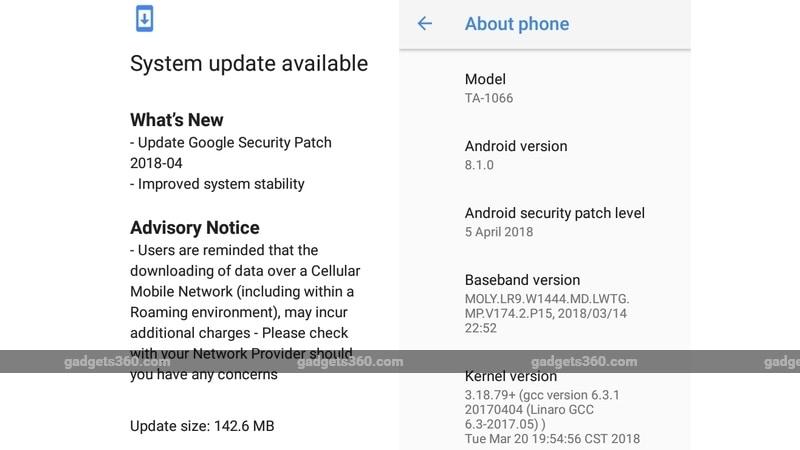 nokia 1 april android security update watermarked gadgets 360  Nokia 1  April Android Security Update