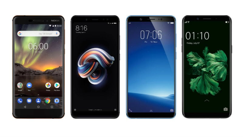 nokia 6 2018 vs redmi note 5 pro vivo v7 oppo f5 price in india