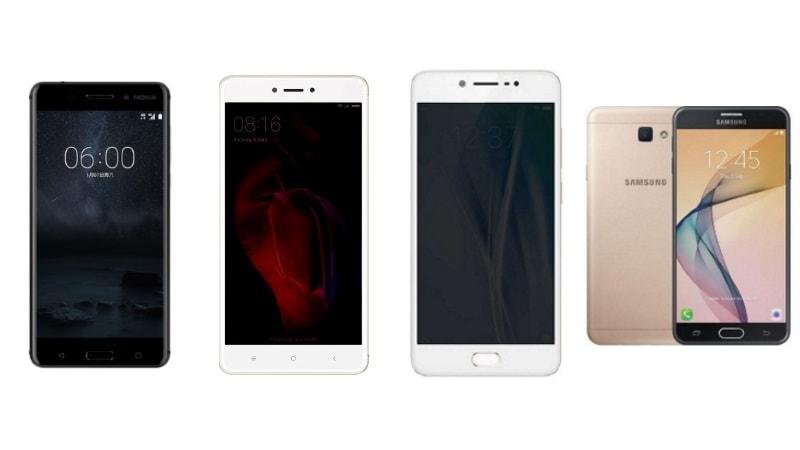 Nokia 6 बनाम Xiaomi Redmi Note 4 बनाम Samsung Galaxy J7 Prime बनाम Vivo V5