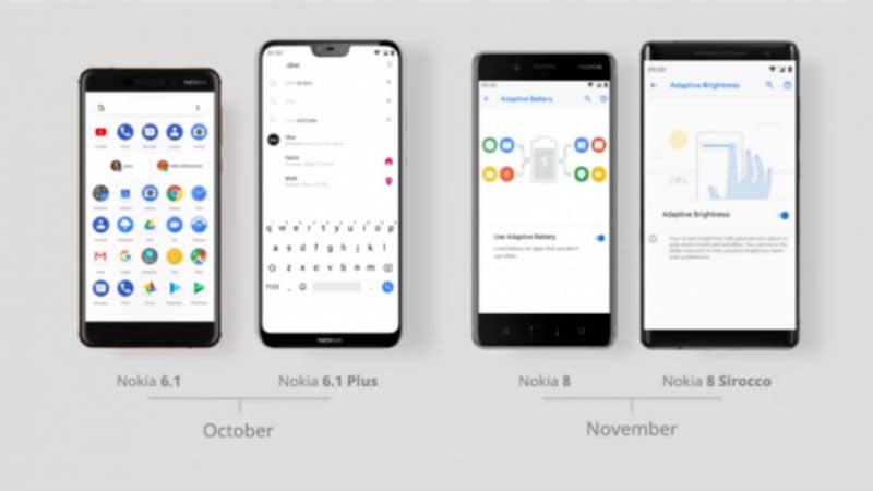 Nokia 6.1, Nokia 6.1 Plus to Receive Android Pie Update This Month; Nokia 8, Nokia 8 Sirocco to Get It in November