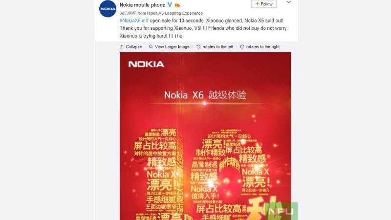 Nokia X6 Goes Out of Stock Within Seconds in First Sale