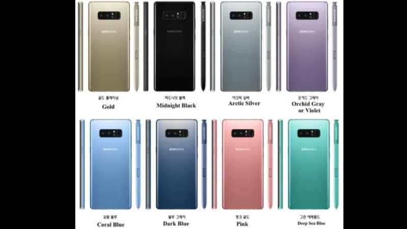 Samsung Galaxy Note 8 Tipped to Come in Eight Colour Options, Live Photos Leaked