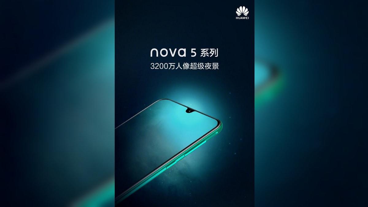 Huawei Nova 5 Series Teaser Tips 32-Megapixel Front Camera, Super Night Mode, Waterdrop Notch