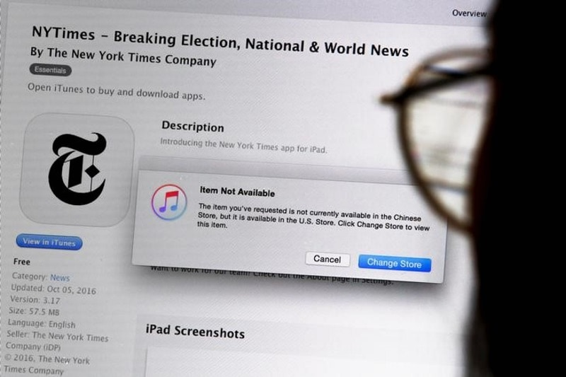 Apple pulled New York Times' news app from China's App Store