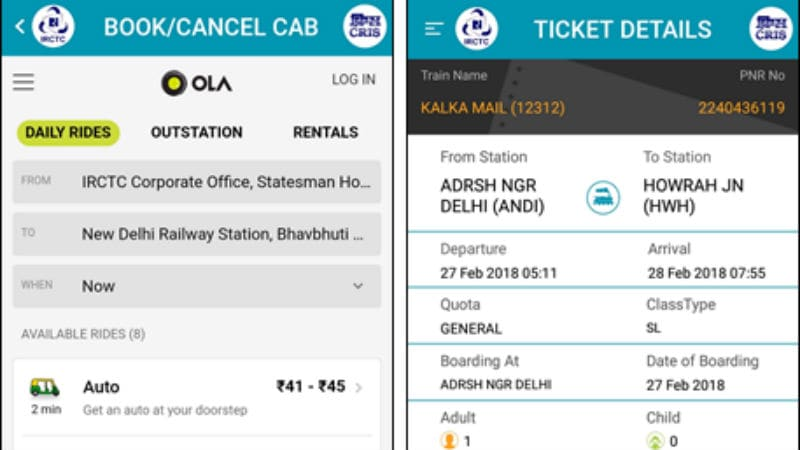IRCTC Partners With Ola to Let Users Book Cabs Online or via App