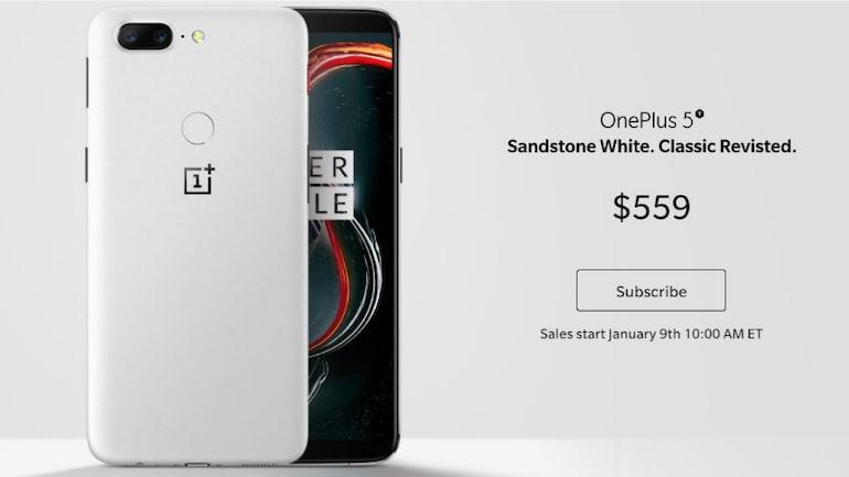 OnePlus 5T का सैंडस्टोन व्हाइट वेरिएंट लॉन्च, बिक्री 9 जनवरी से होगी शुरू