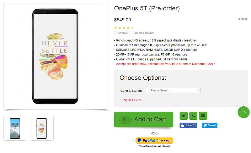 OnePlus 5T Price, Specifications 'Revealed' as Pre-Orders