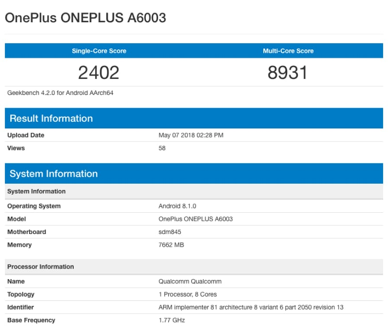 OnePlus 6 with 8GB of RAM, Snapdragon 845 shows up on Geekbench