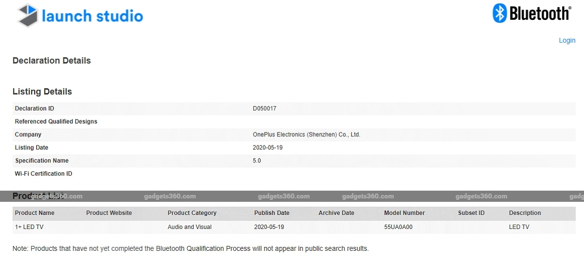 Unannounced OnePlus TV, Remote Spotted on Bluetooth SIG Site