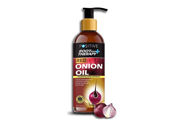 Best Onion Oils for Hair Growth - POSITIVE Root Therapy + Red Onion Hair Oil + 14 Essential Oils, Argan Oil, Bhringraj, Hibiscus, Sesame, Amla, Sweet Almond Oil, Olive Oil