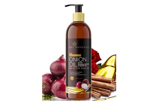 Best Onion Oils for Hair Growth - Rey Naturals Nourishing Hair Fall Treatment With Real Onion Extract Hair Oil For Unisex, 200ml