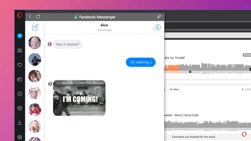 Opera's new browser lets you chat on WhatsApp while you work